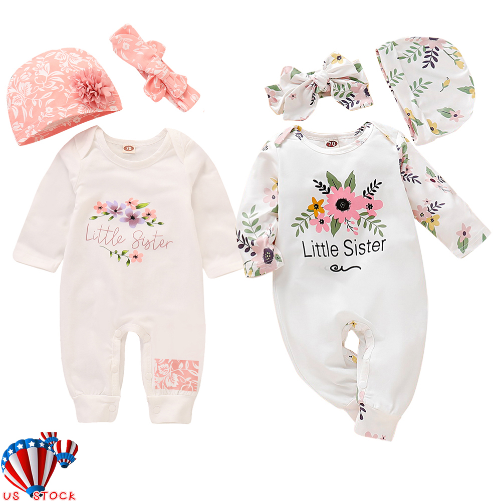 US Newborn Baby Girl Floral Romper Jumpsuit Bodysuit Headband Clothes Outfits